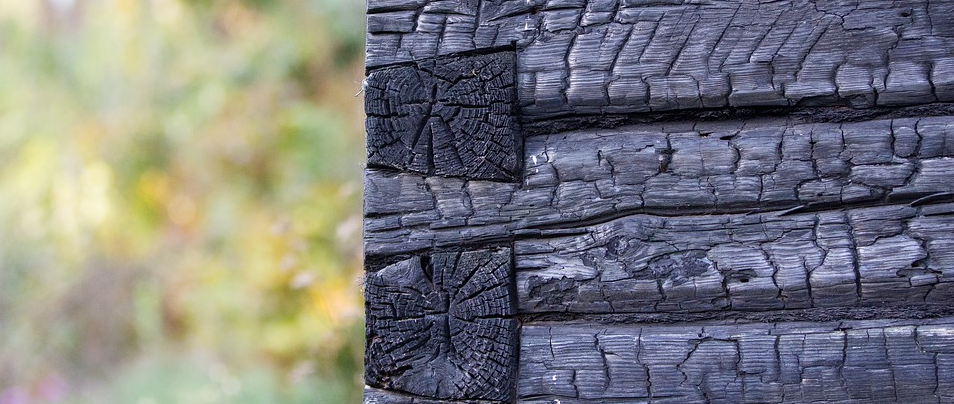 Charred wood siding in authentic Yakisugi (Shousugiban)